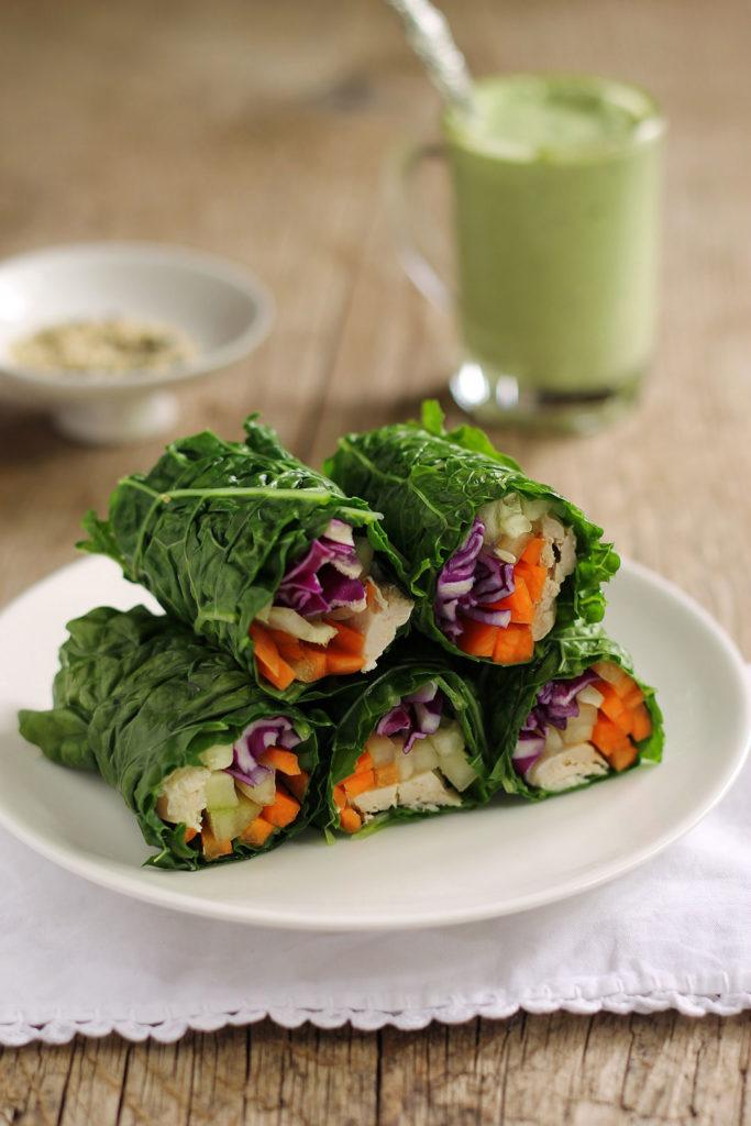 Collard green wraps with chicken