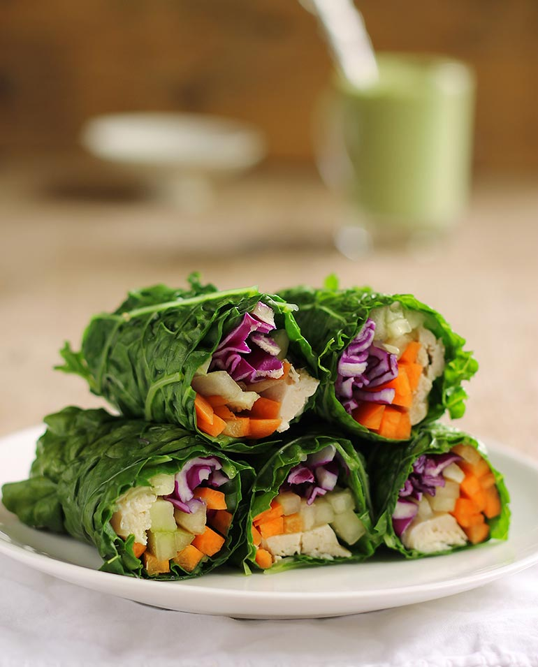 Collard Green Wraps with Chicken