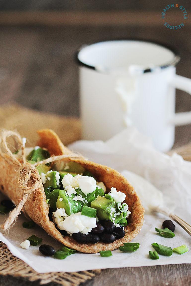 Black bean and avocado veggie taco
