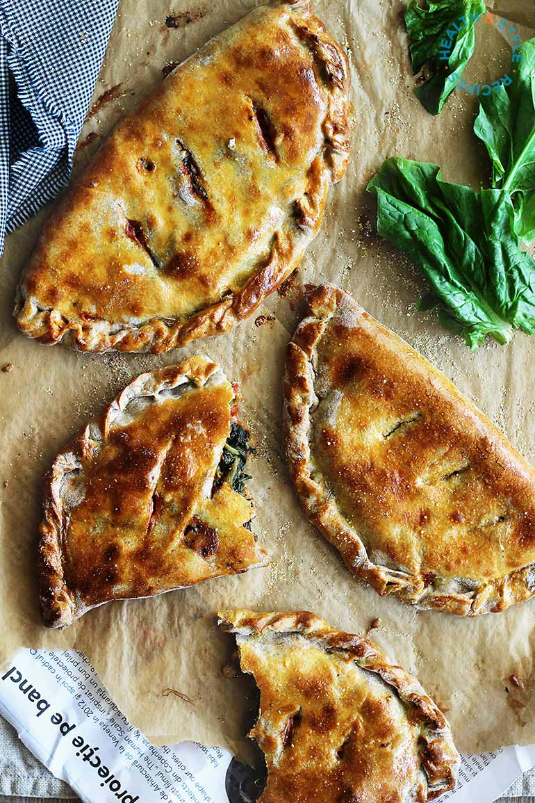 Whole Wheat Spinach and Goat Cheese Calzone