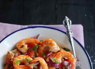 Grilled shrimp panzanella salad recipe