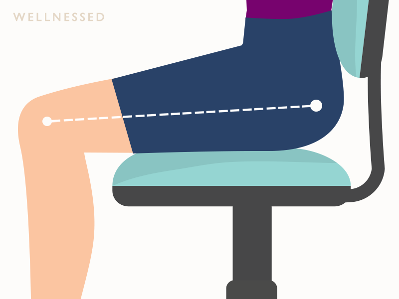 Office chair seat tilt adjustment with thighs approximately horizontal to very lightly slowing down toward knees.