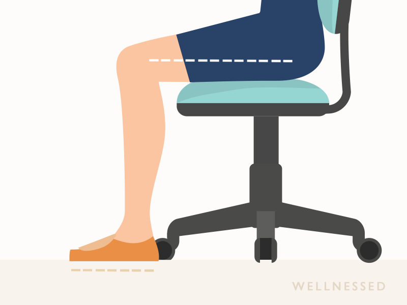 Office chair height adjustment with thighs horizontal and feet flat on ground