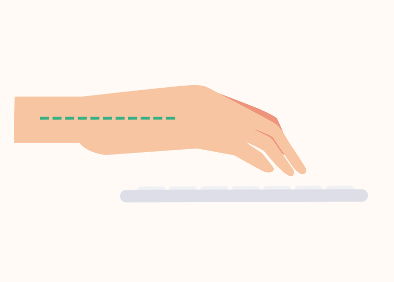 Hands with straight wrist over computer keyboard