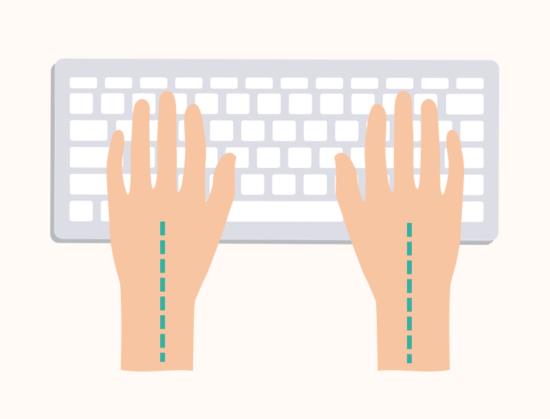 Hands with straight wrist over keyboard