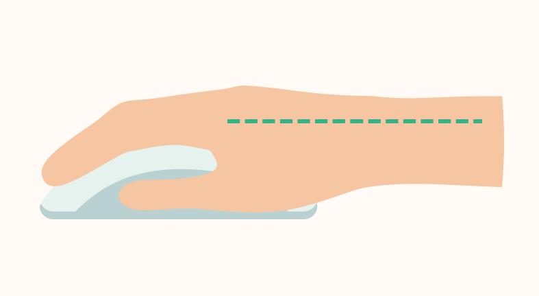 Proper hand posture: wrist straight, hand on mouse