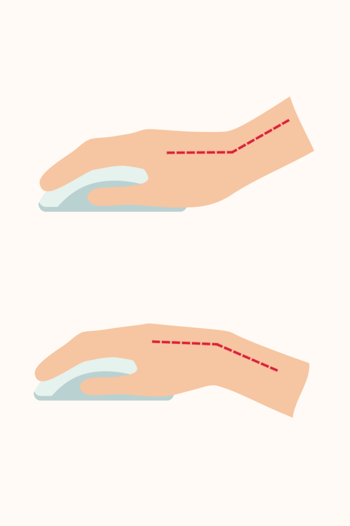 Poor hand posture using mouse: Hand on mouse bent up or down